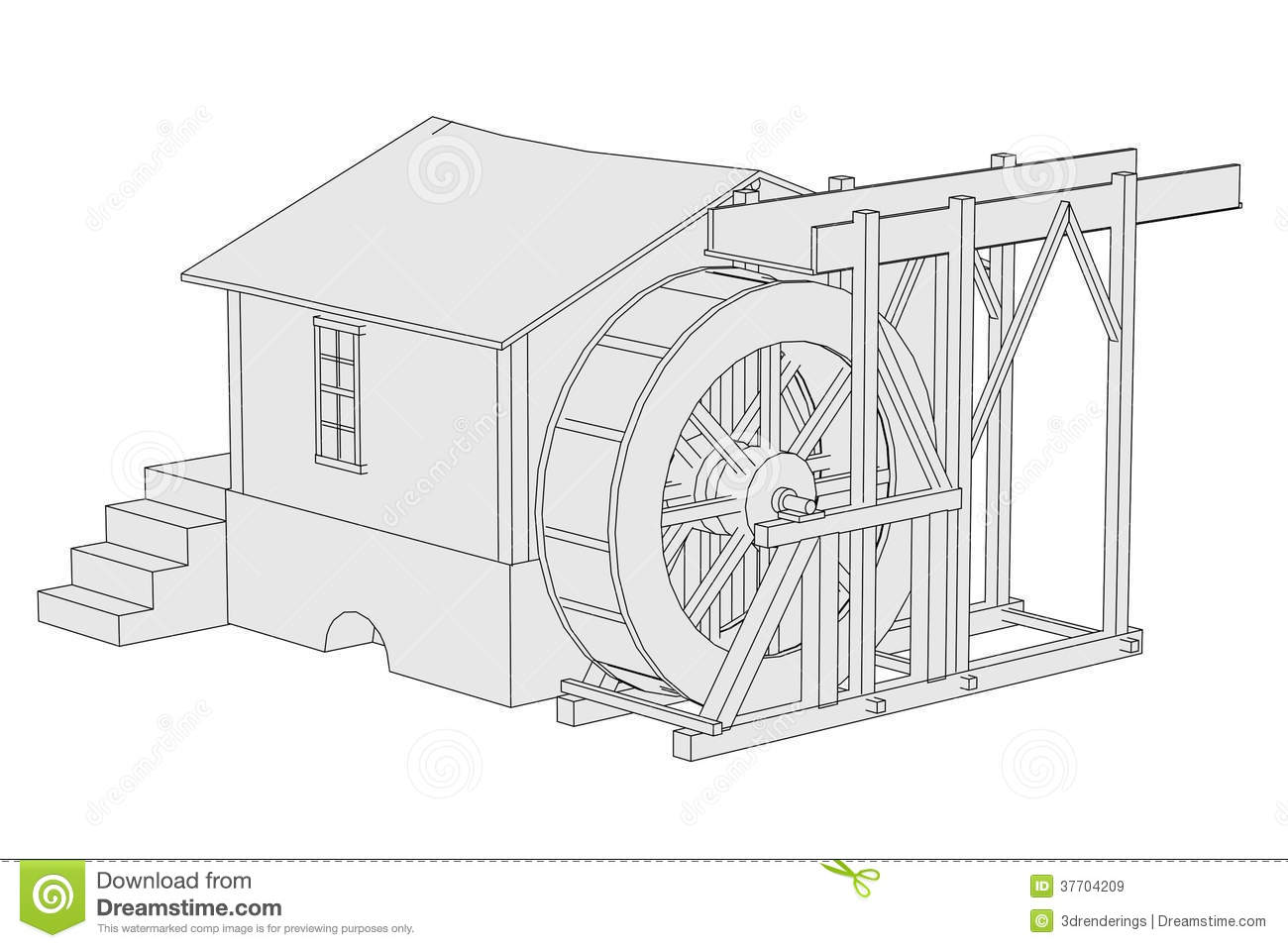 Image Of Water Mill Stock Illustration Illustration Of