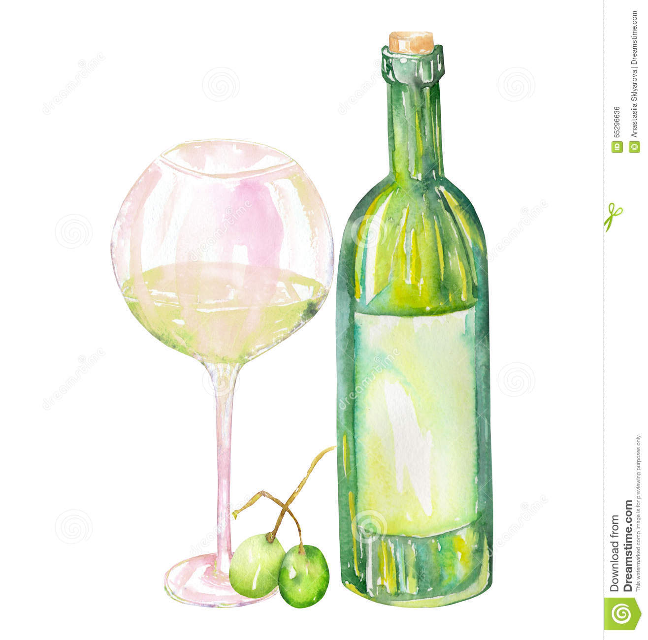 Image of the watercolor white wine bottle green grapes for Green wine bottles