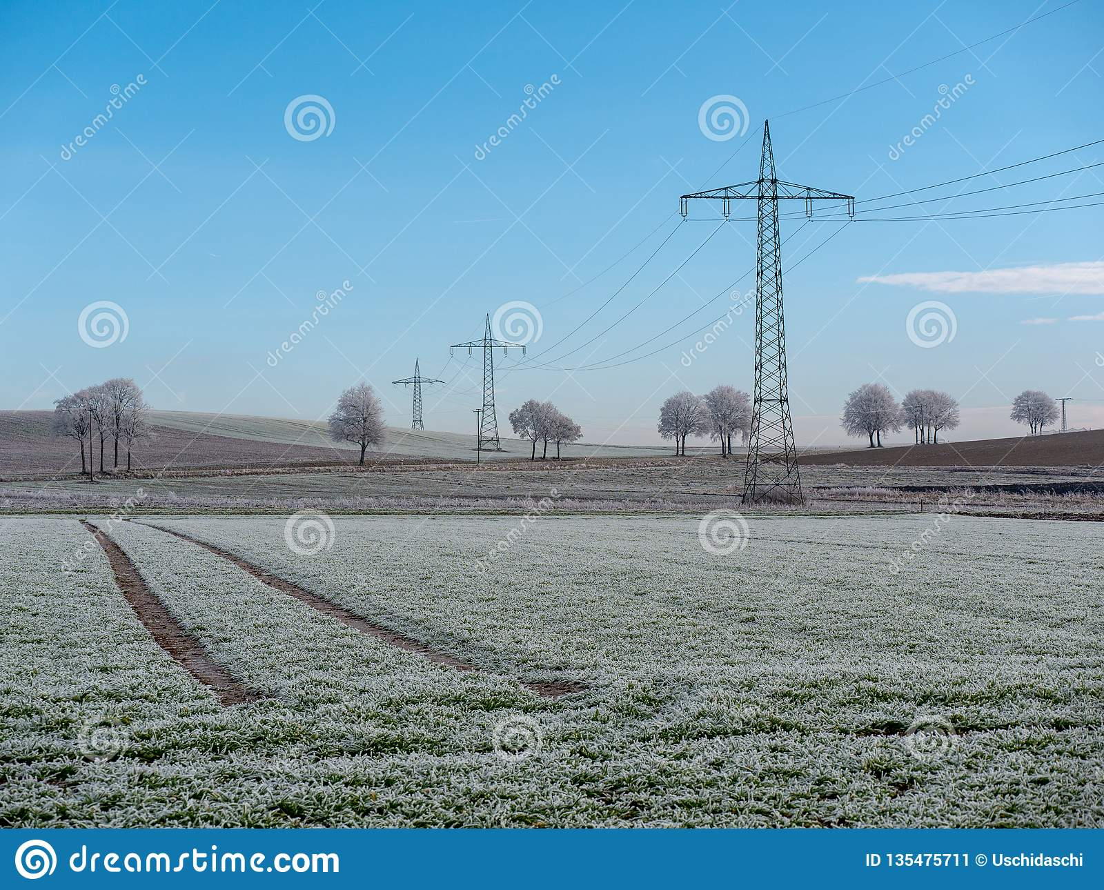 Image of winter landscape with power lines