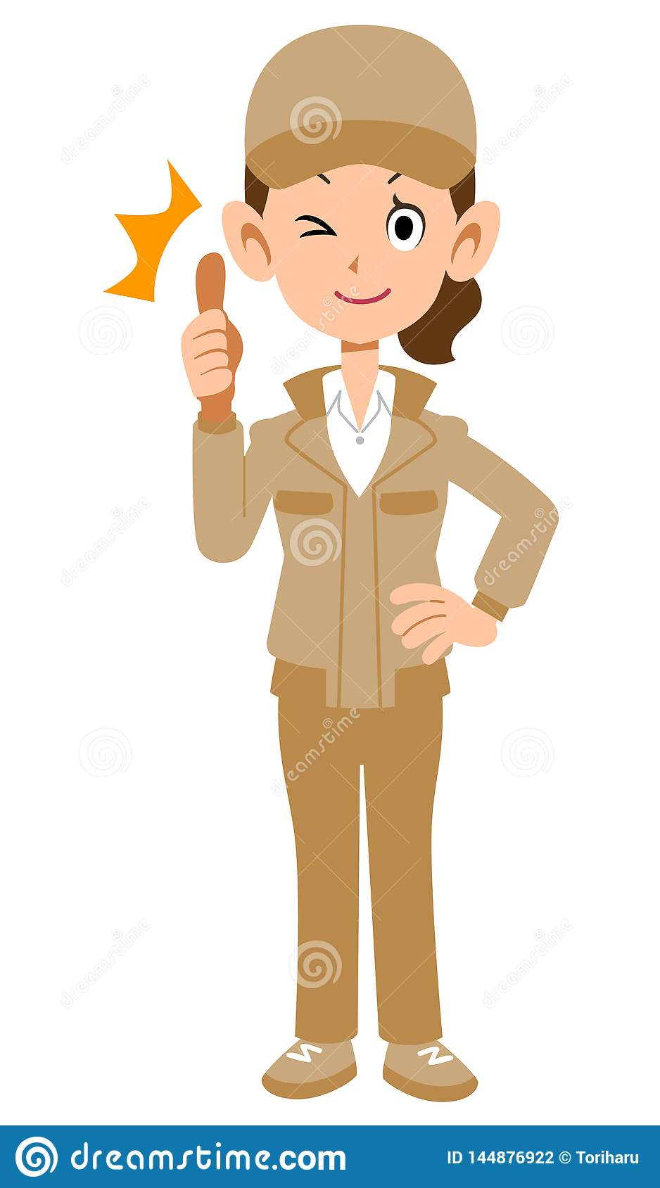 Woman in beige workwear to thumb up