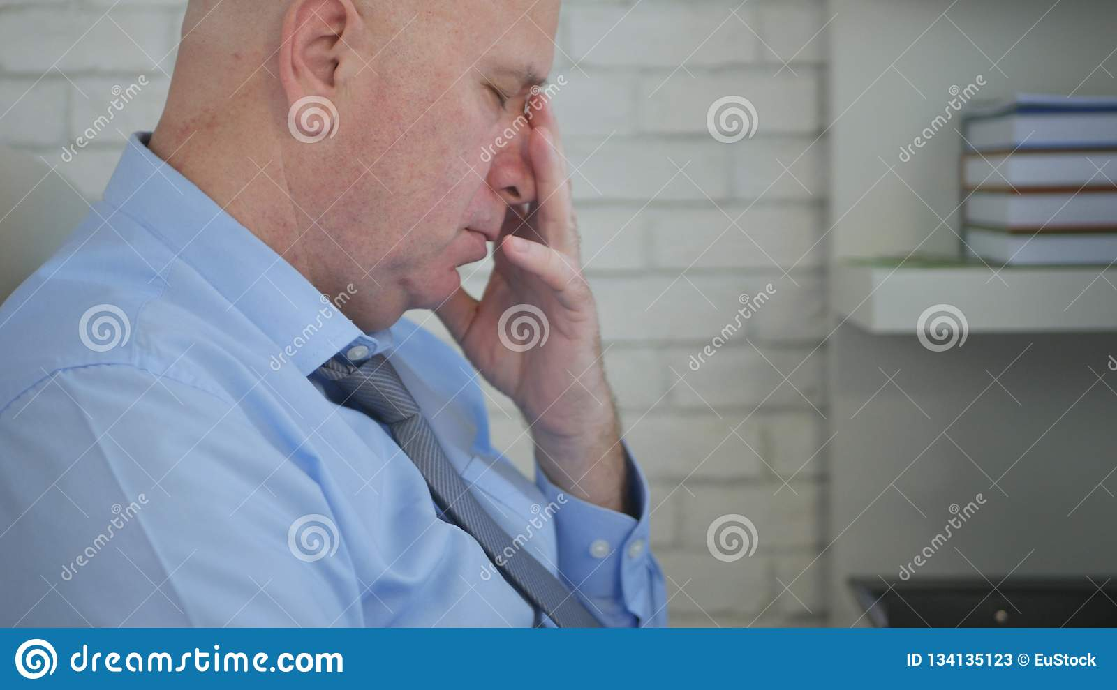 Worried Businessman In Office Room Image Thinking Troubled