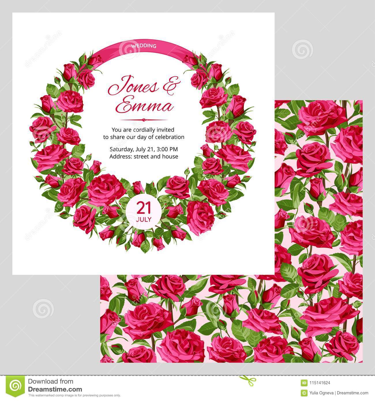 Cover Of Wedding Invitation And Seamless Pattern. Pink Roses On ...