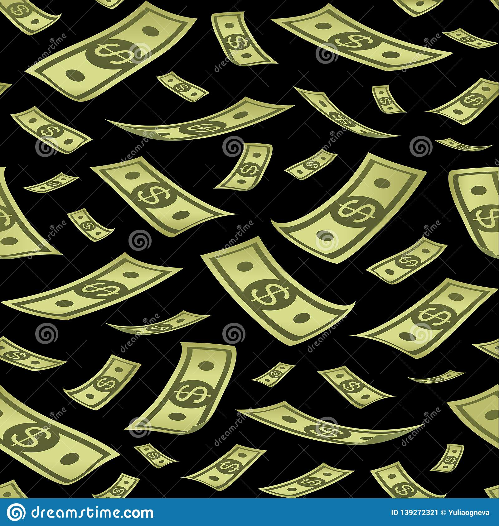 Seamless pattern with money. Rain of banknotes on black background.