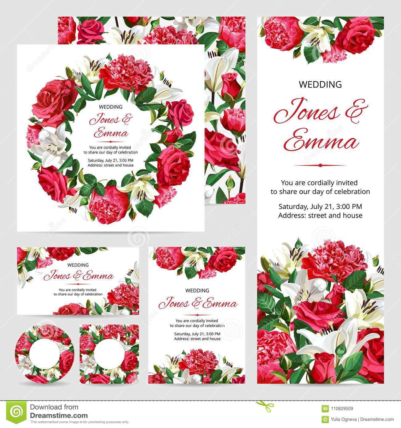Set Of Wedding Invitations. Red And White Flowers On White ...