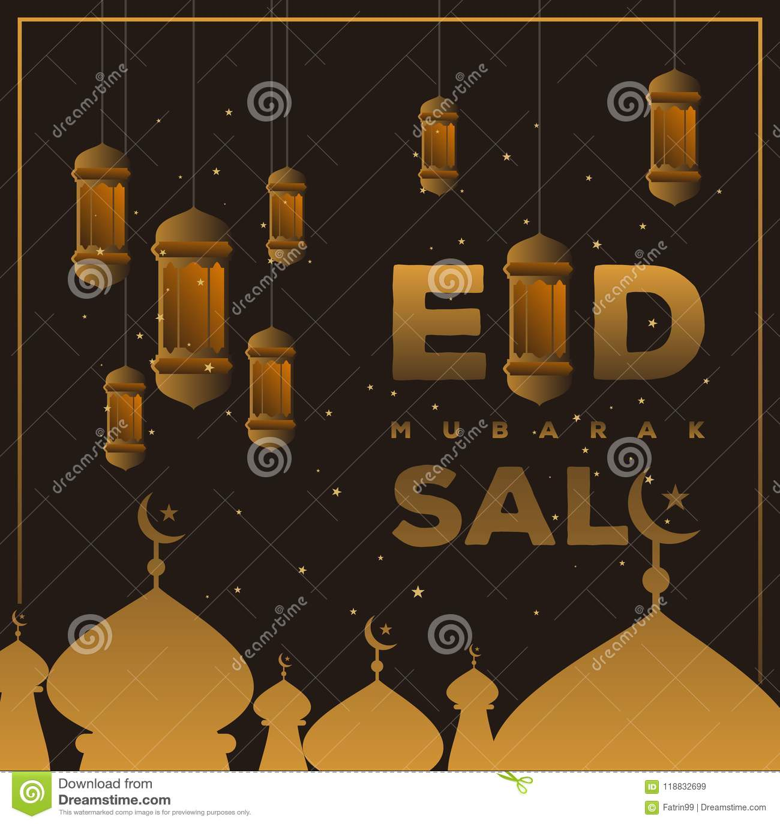 Eid Mubarak Sale Design For Your Business Stock Vector