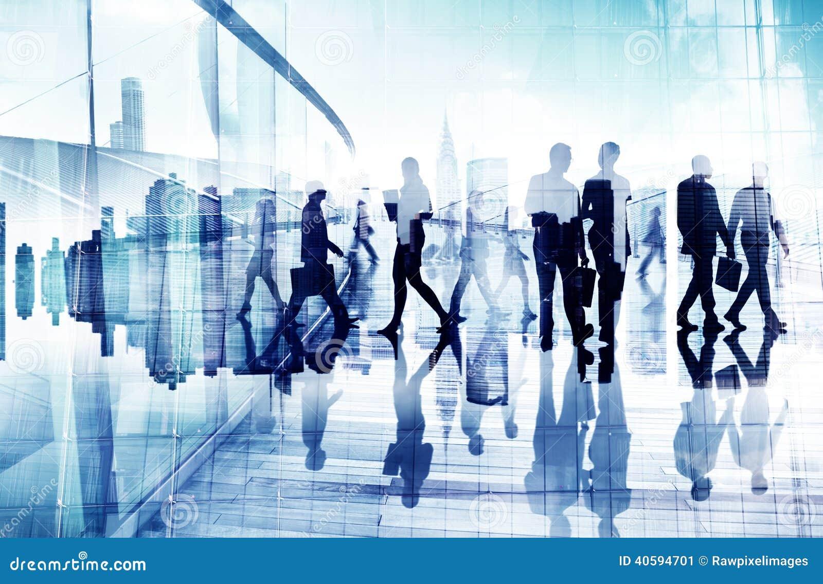 Imagem abstrata da vida ocupada de pessoa de negócio