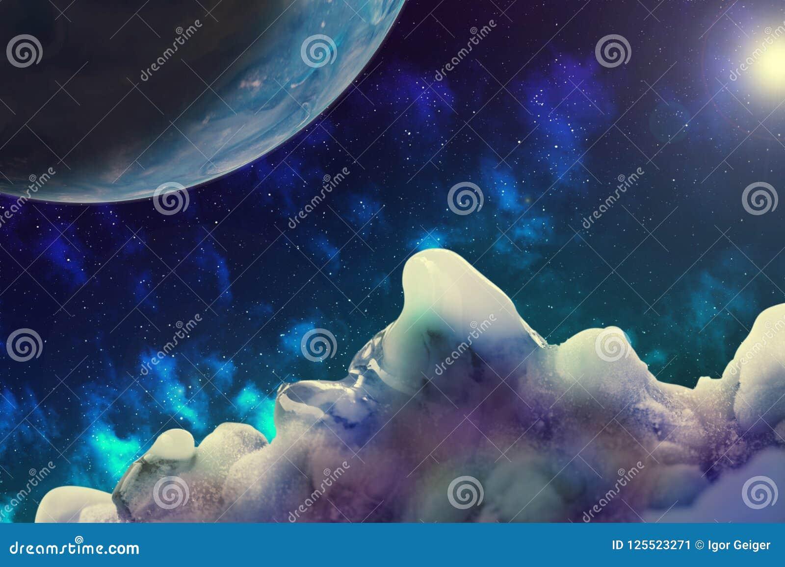 Imagem abstrata de uma ideia do espaço de um planeta desconhecido do gelo, IL