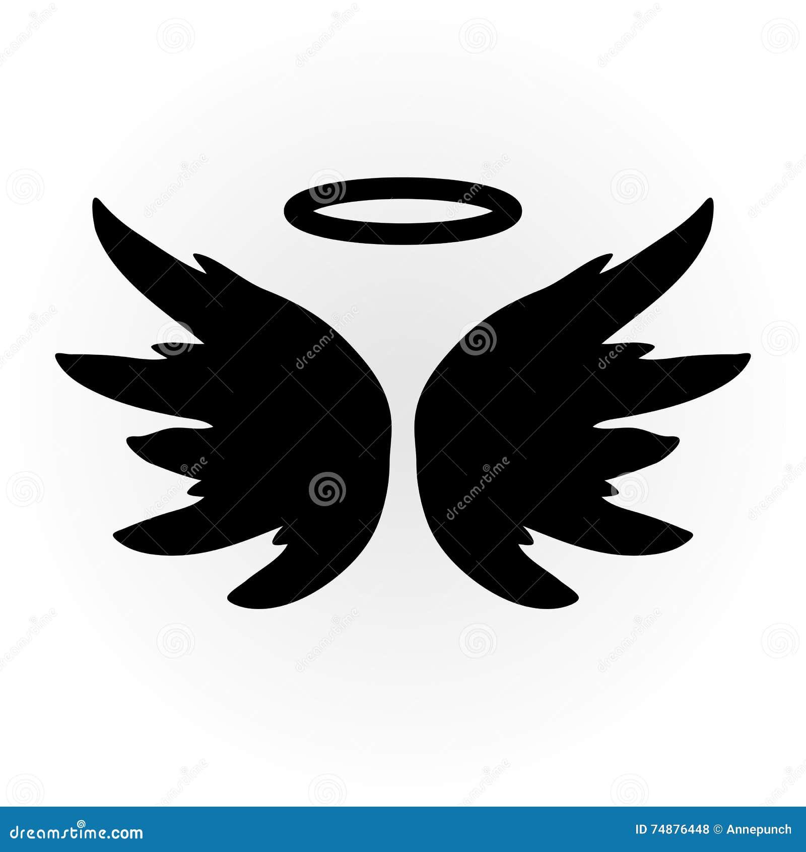 Imagem abstrata do anjo As asas e o halo Objeto isolado ícone