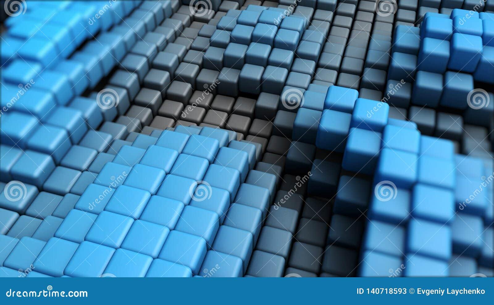 Imagem abstrata do fundo dos cubos no azul tonificado