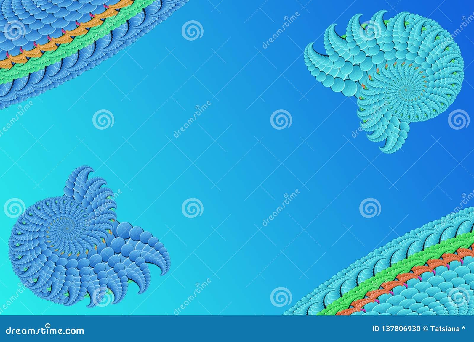 Imagem abstrata em um fundo azul de elementos azul-azuis do fractal, screensaver à moda moderno da fantasia