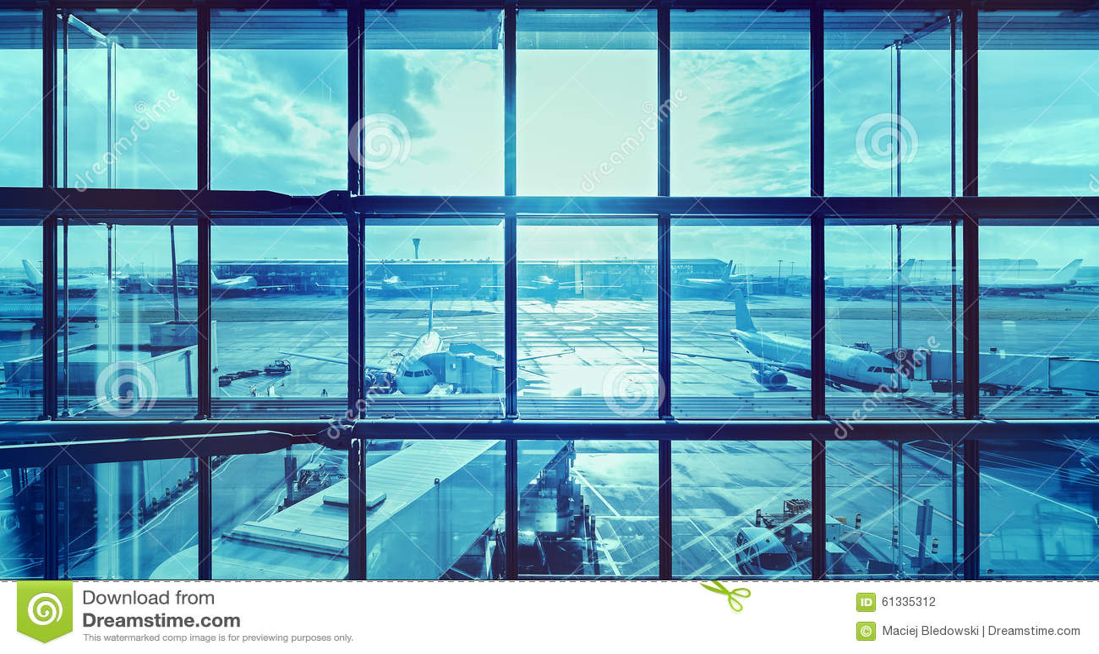 Imagem azul futurista de um aeroporto