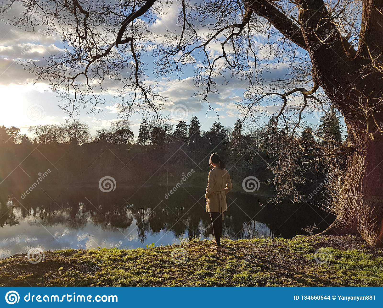 Imagem calma de uma pessoa que pensa profundamente na paisagem natural
