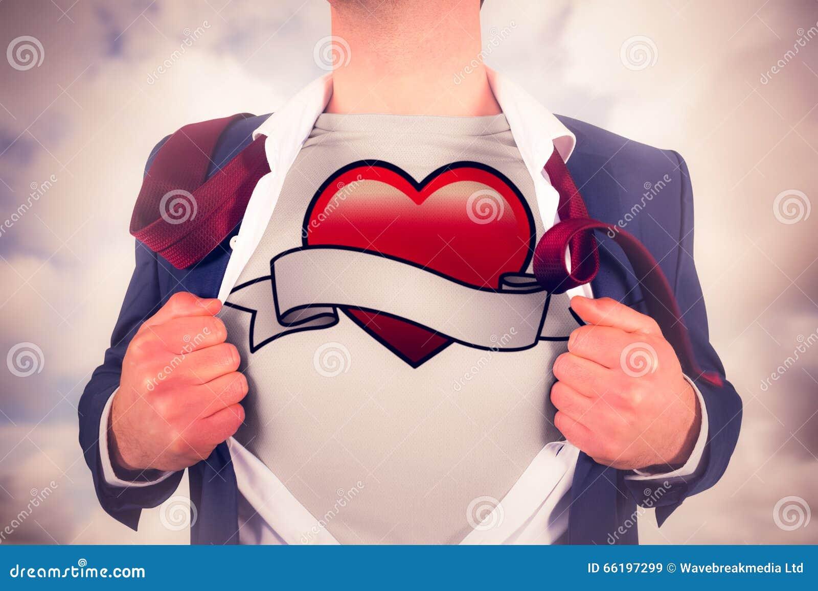 Imagem composta da camisa da abertura do homem de negócios no estilo do super-herói