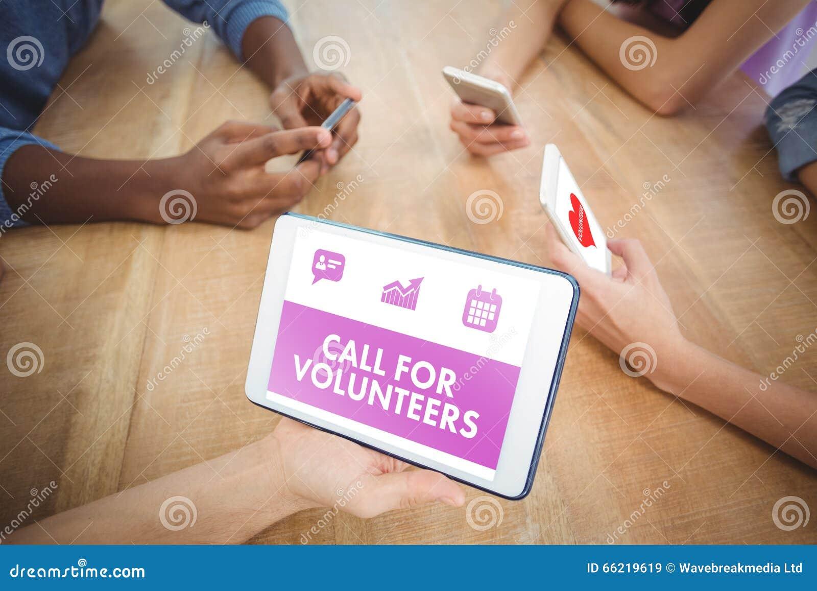 Imagem composta da chamada verde para voluntários