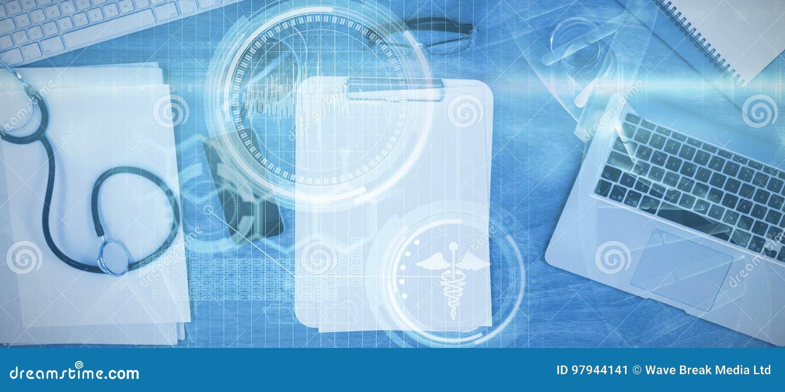 Imagem composta da imagem composta digital da hélice do ADN