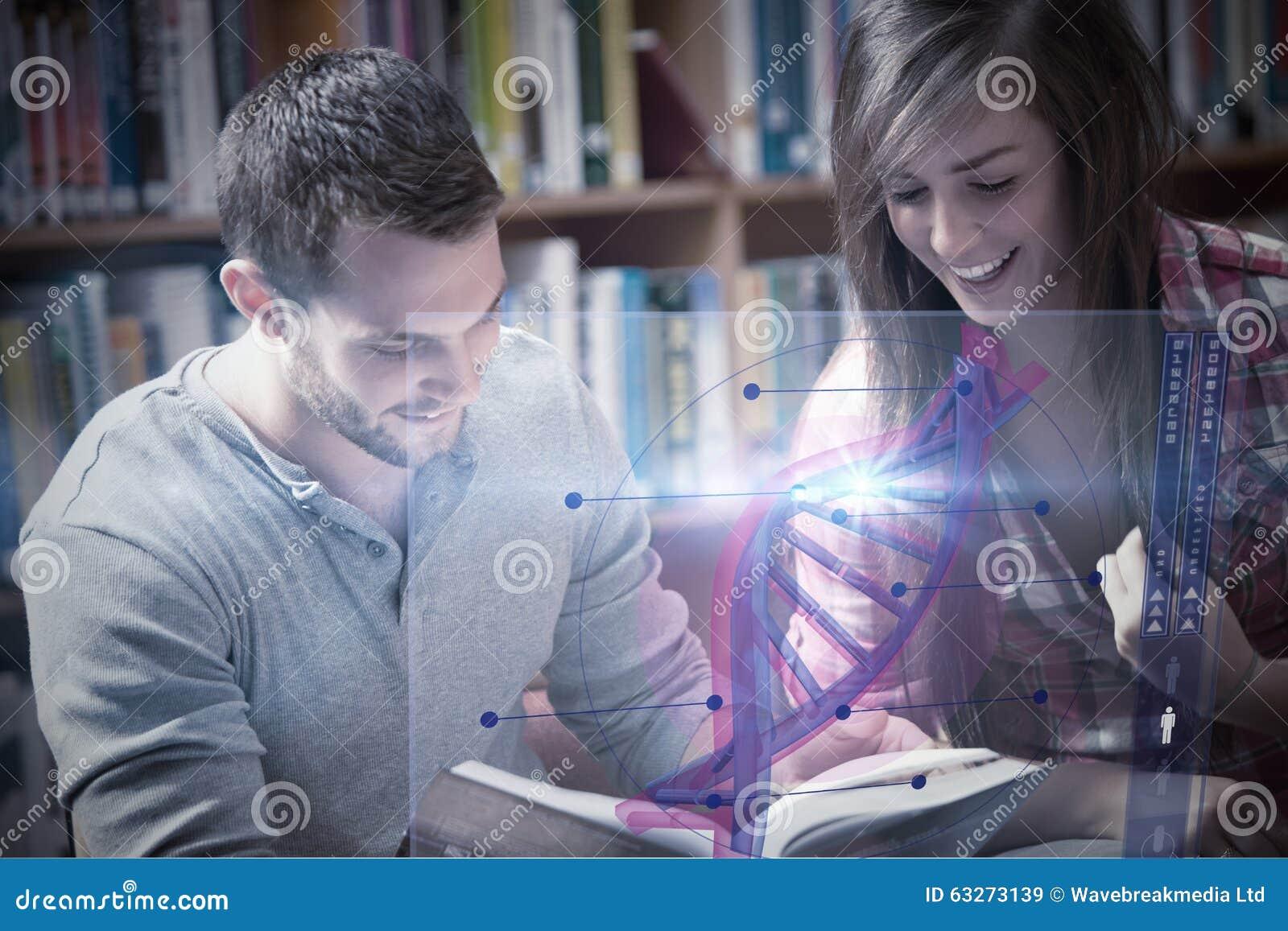 Imagem composta da ilustração do ADN