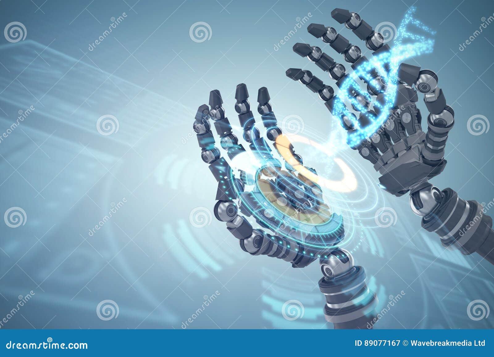 Imagem composta da imagem composta das mãos robóticos contra o fundo branco 3d