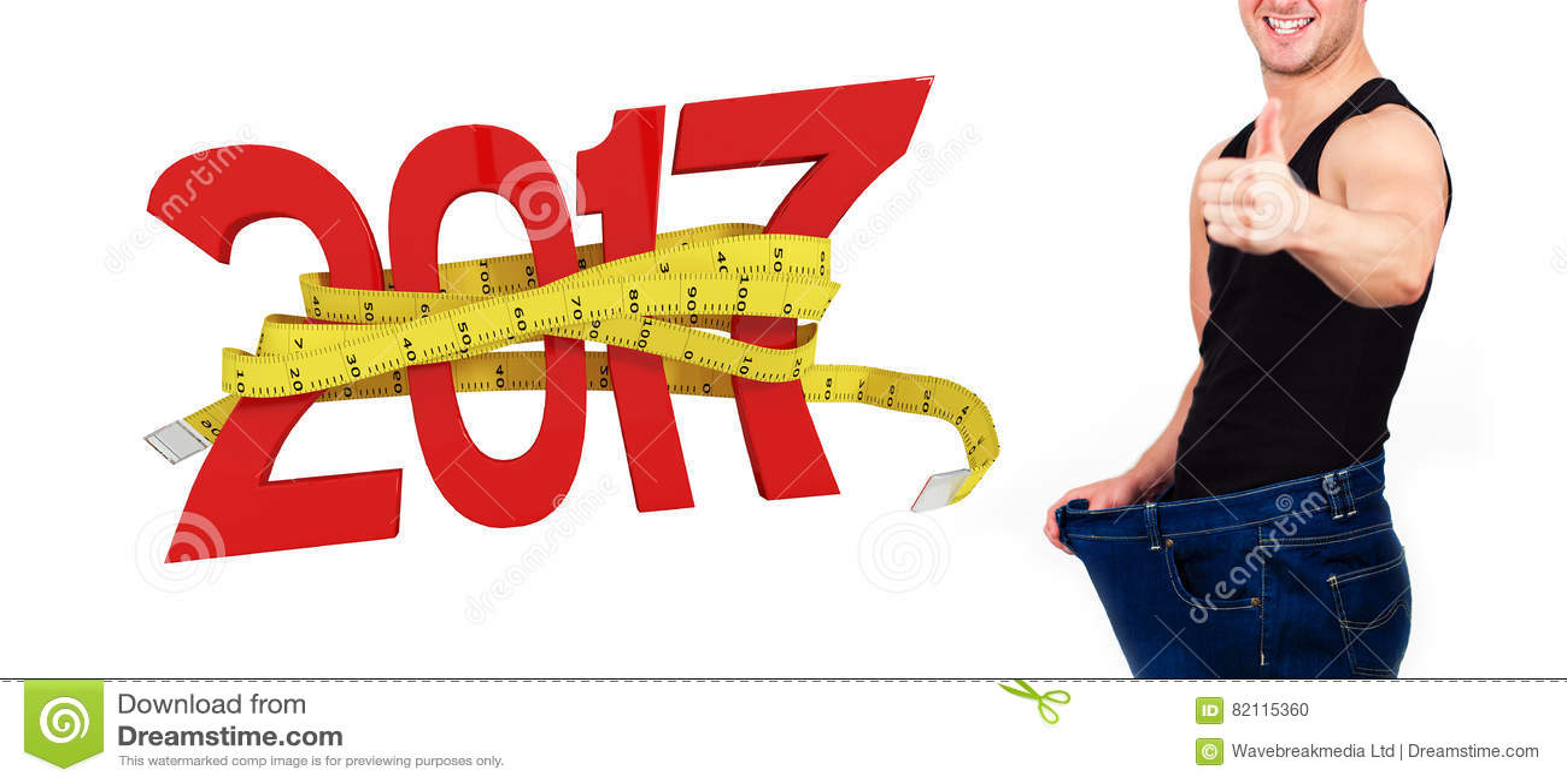 Imagem composta da imagem digitalmente gerada do ano novo com fita métrica