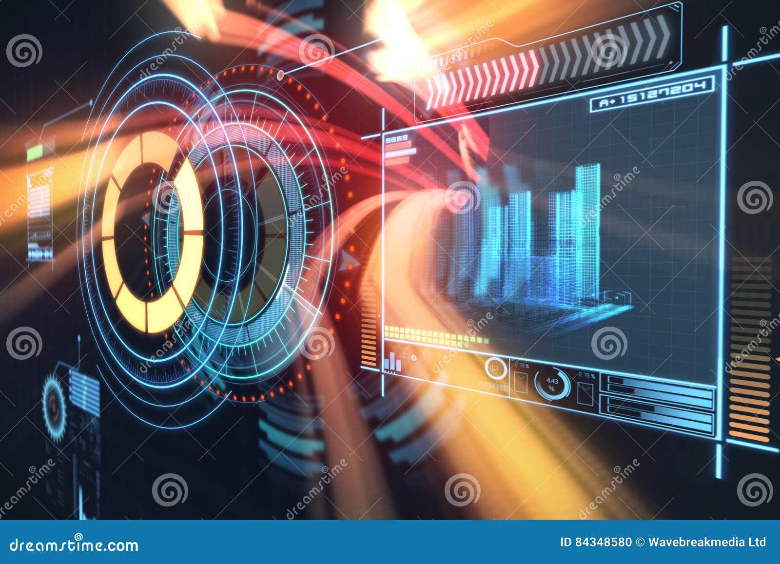 Imagem composta da imagem digitalmente gerada do botão do volume com dados gráficos 3d