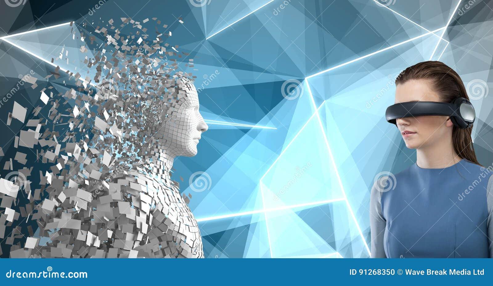 Imagem composta da mulher que usa a realidade virtual 3d