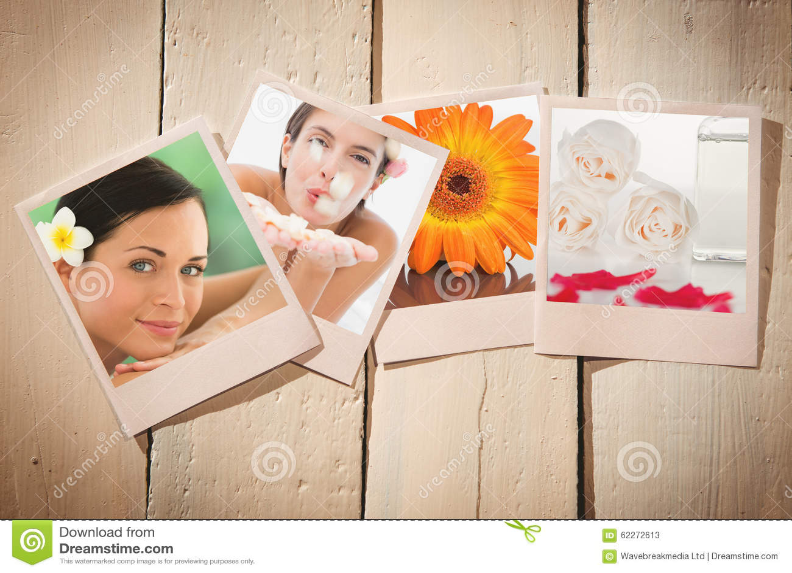 Imagem composta das pétalas de sopro da flor da mulher feliz bonita no centro dos termas