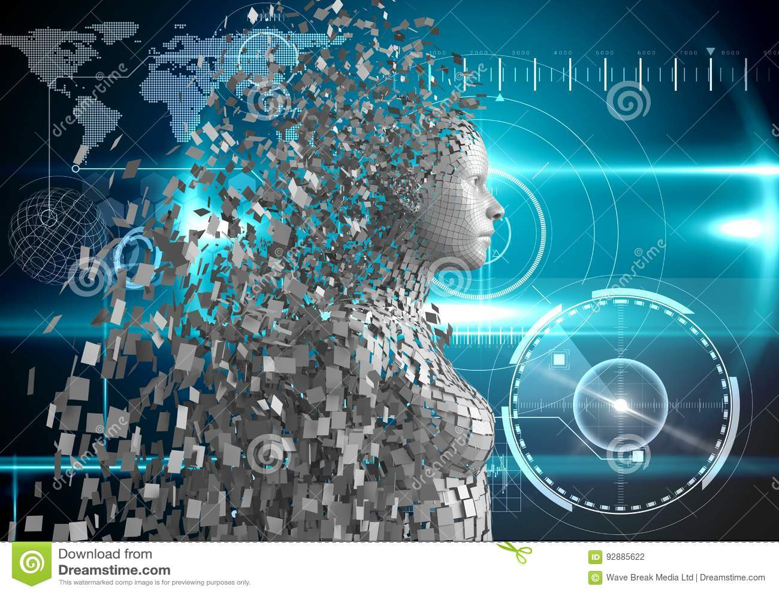 Imagem composta de Digitas do ser humano 3d sobre o fundo azul de incandescência