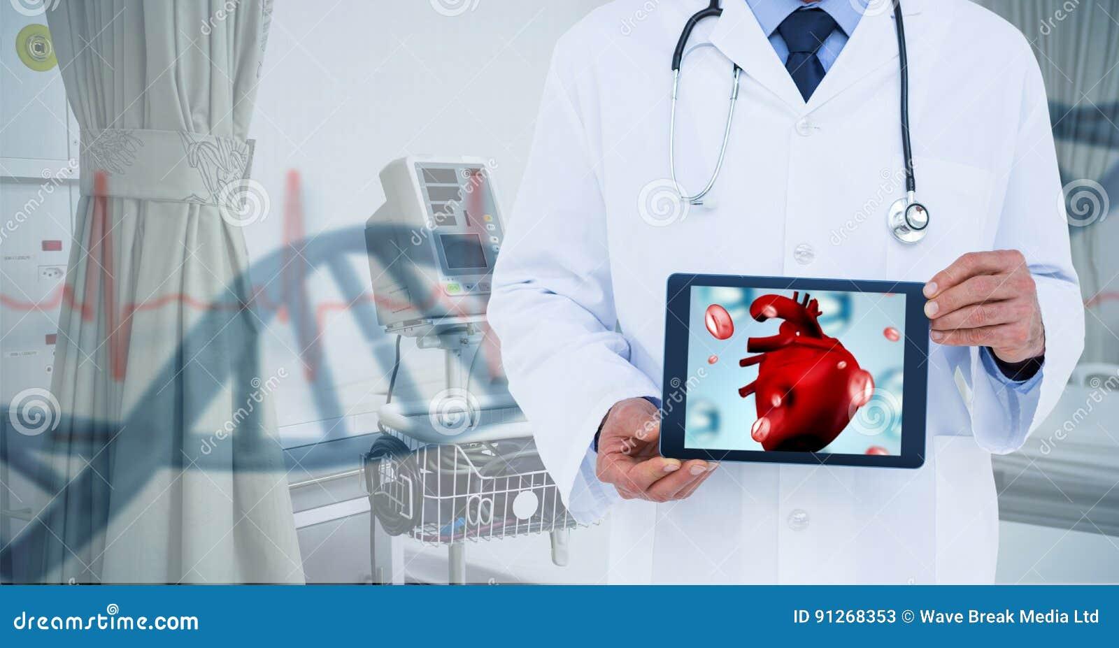 Imagem composta do doutor que mostra a tabela com coração