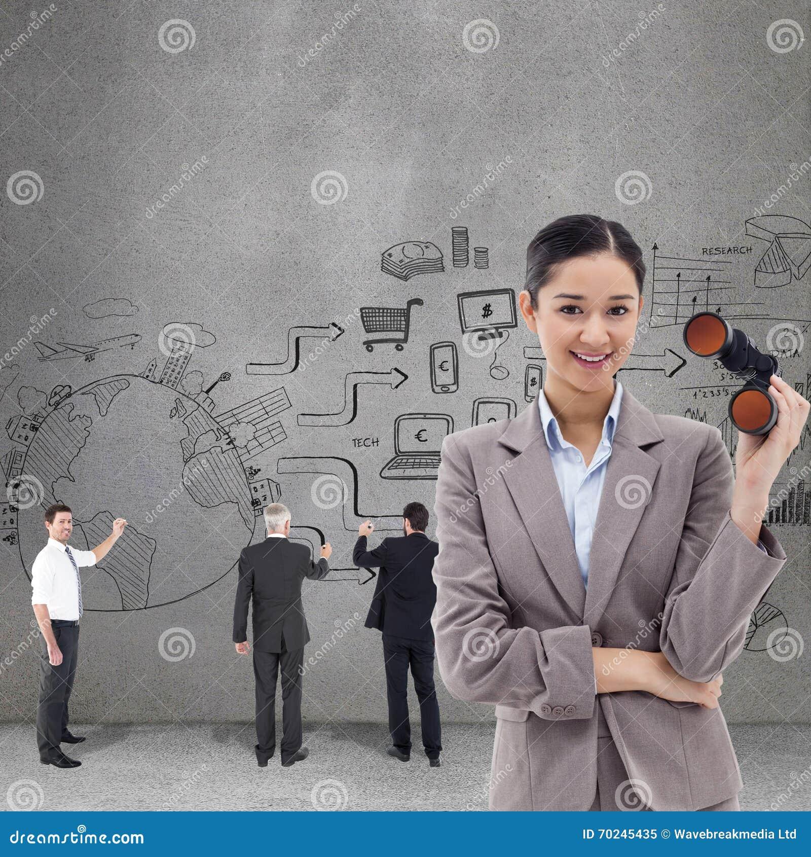 Imagem composta do retrato de uma mulher de negócios que guarda binóculos