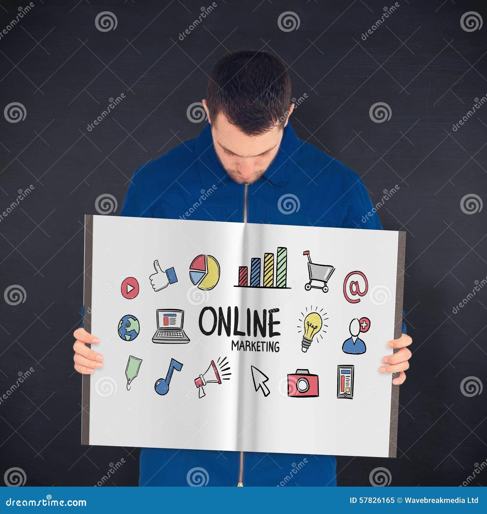 Imagem composta do trabalhador manual que mostra um livro