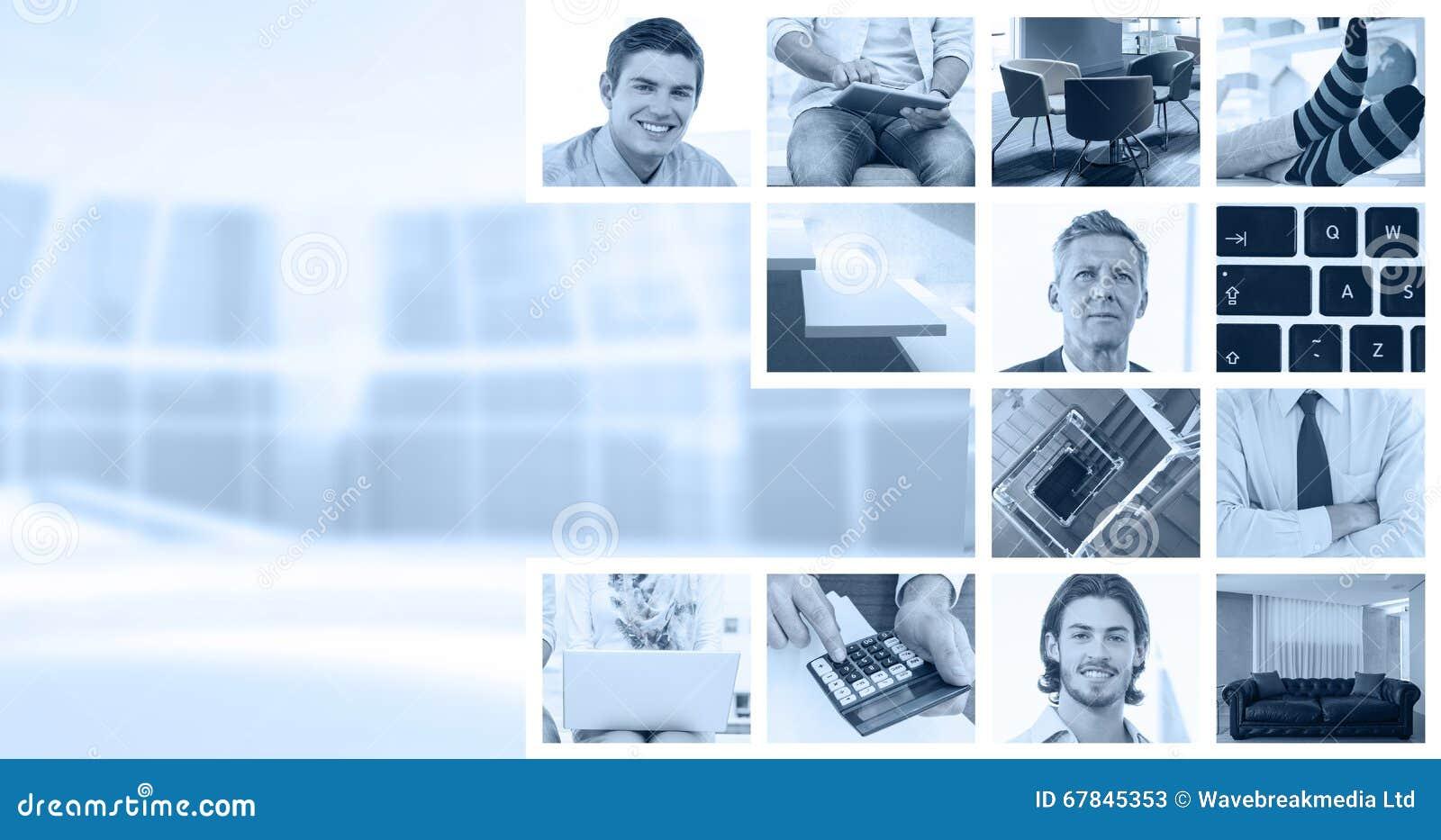 Imagem composta dos homens de negócios que usam o portátil