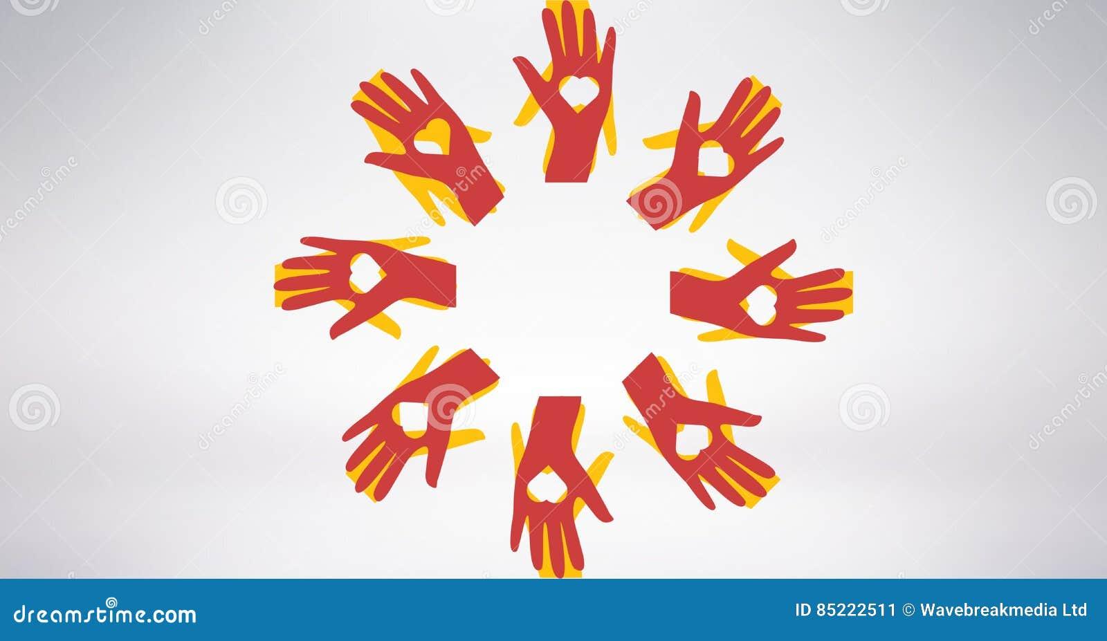 Imagem conceptual das mãos dos voluntários com o coração dado forma