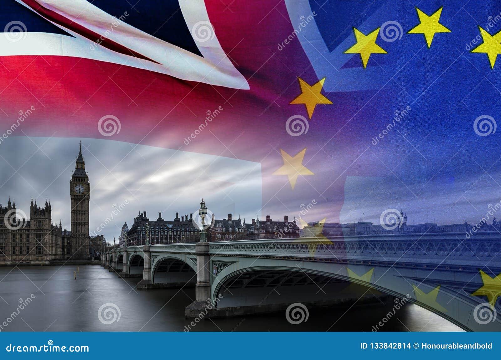 Imagem conceptual de BREXIT do ove da imagem de Londres e das bandeiras do Reino Unido e da UE