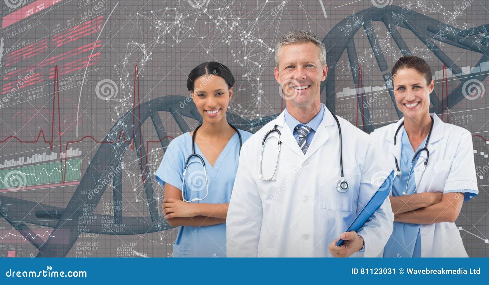 Imagem 3D composta do retrato do doutor masculino com pessoal fêmea