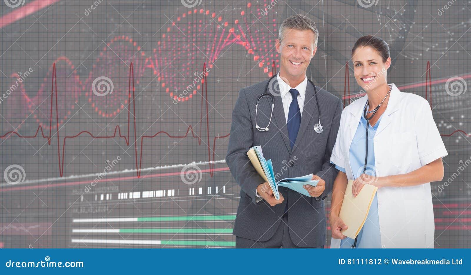 Imagem 3D composta do retrato dos doutores masculinos e fêmeas com relatórios médicos