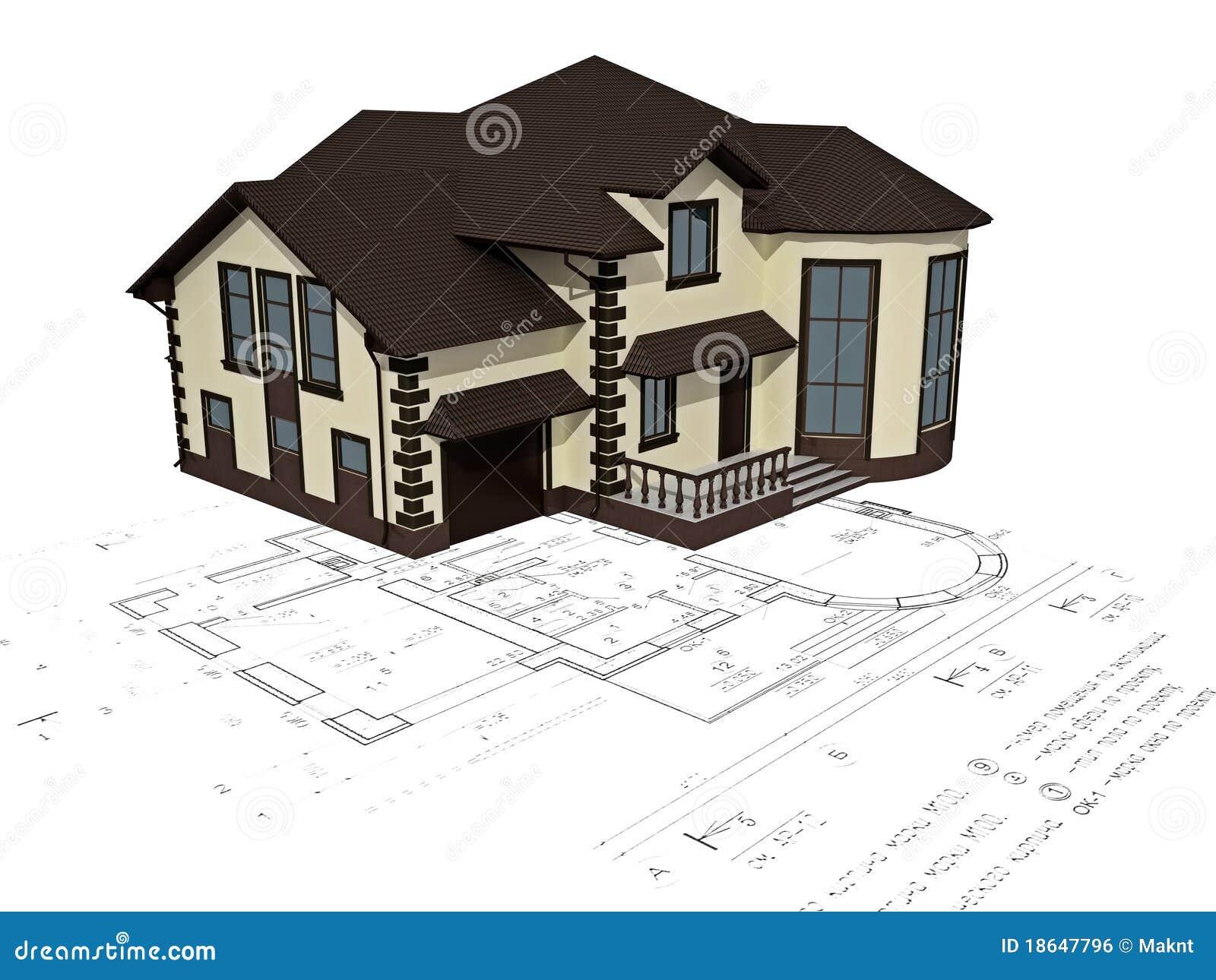 A imagem da casa 3d na planta ilustra o stock for Simulador de casas 3d gratis