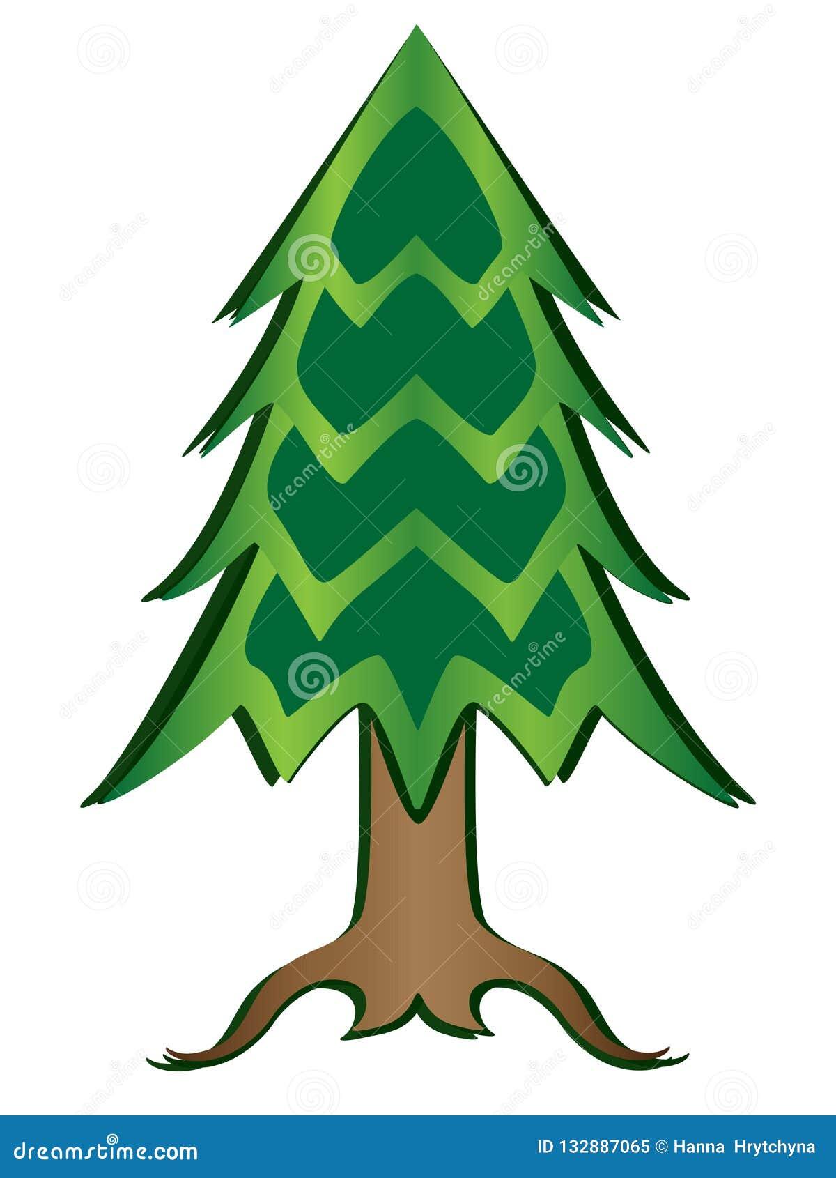 Imagem da cor completa de árvore de Natal Ilustração cortada de papel do vetor da árvore das coníferas com inclinação