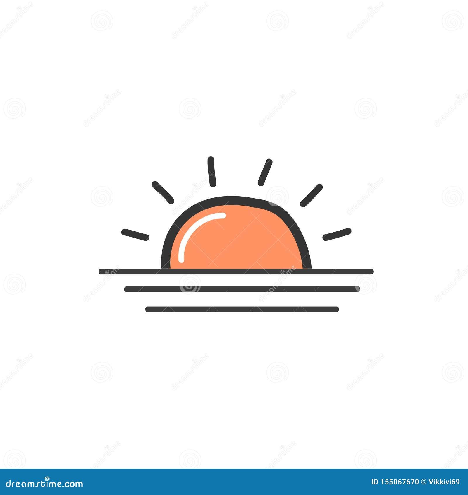 Imagem da laranja o nascer do sol Um símbolo do tempo Ilustra??o da garatuja do vetor