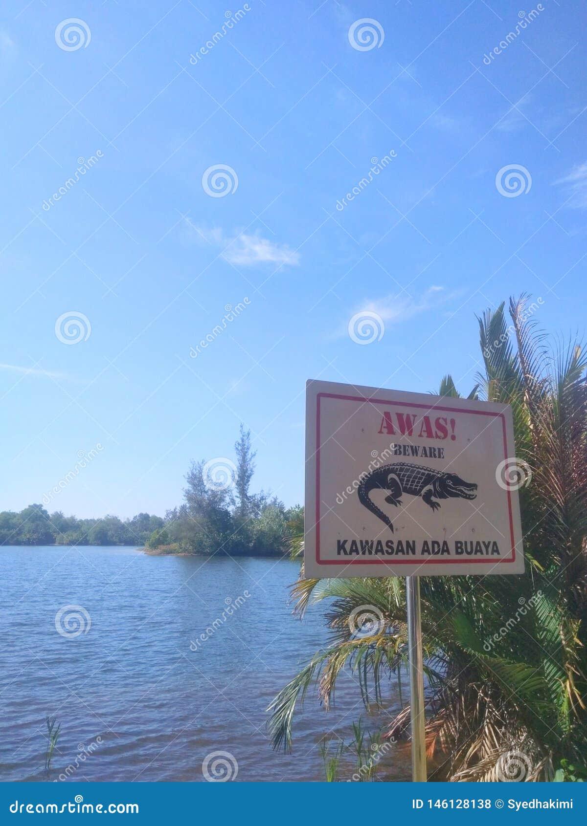 Imagem da placa do sinal de um crocodilo e de um lago