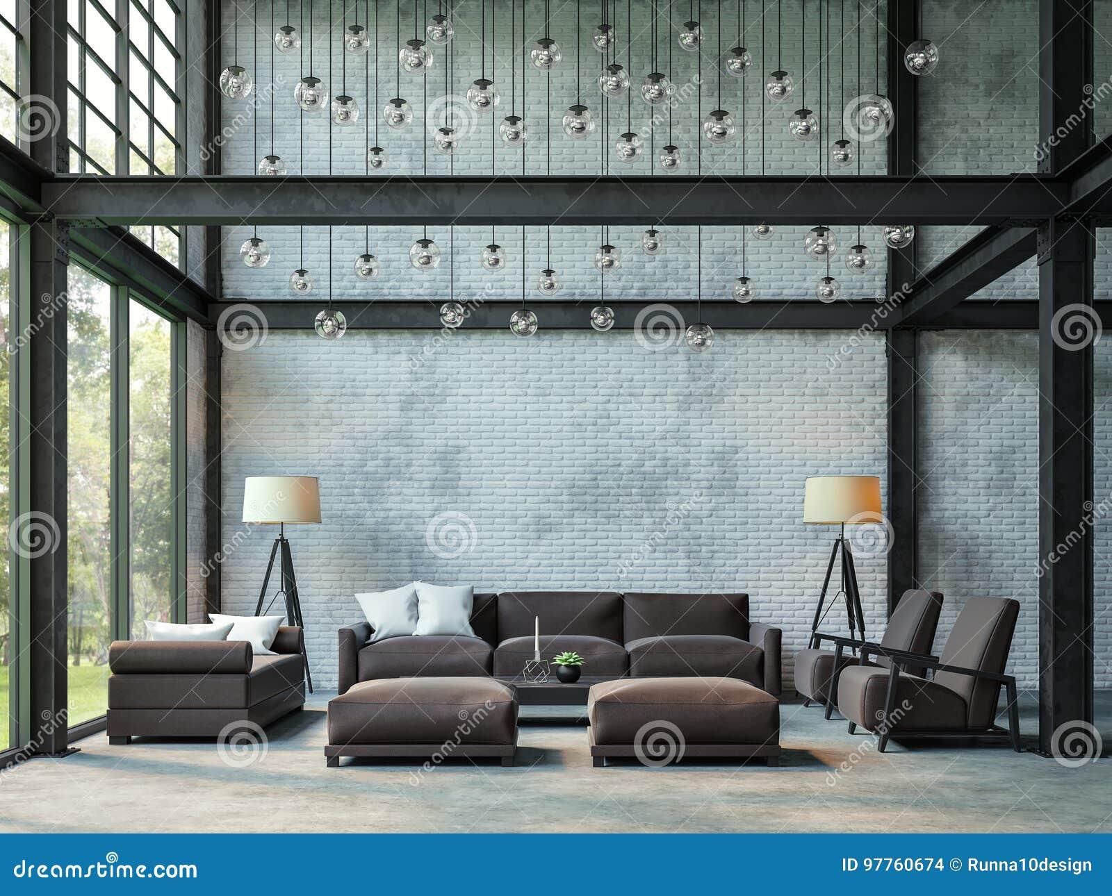 Imagem da rendição da sala de visitas 3d do estilo do sótão