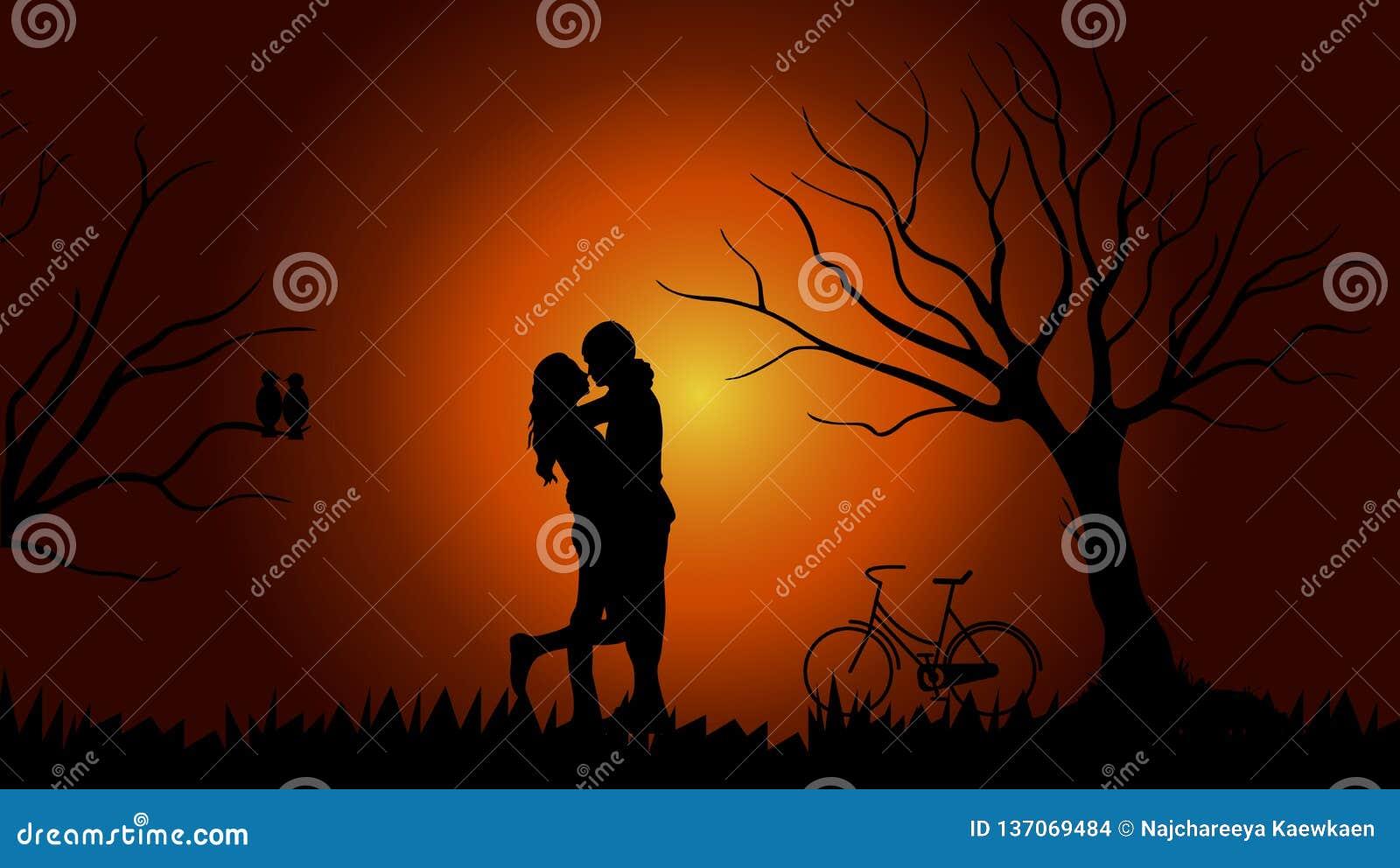Imagem de fundo do Valentim que consiste em pares, árvores, bicicletas, pássaros