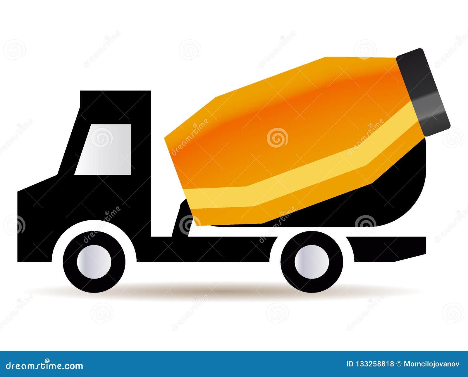 Imagem de um caminhão alaranjado do misturador de cimento
