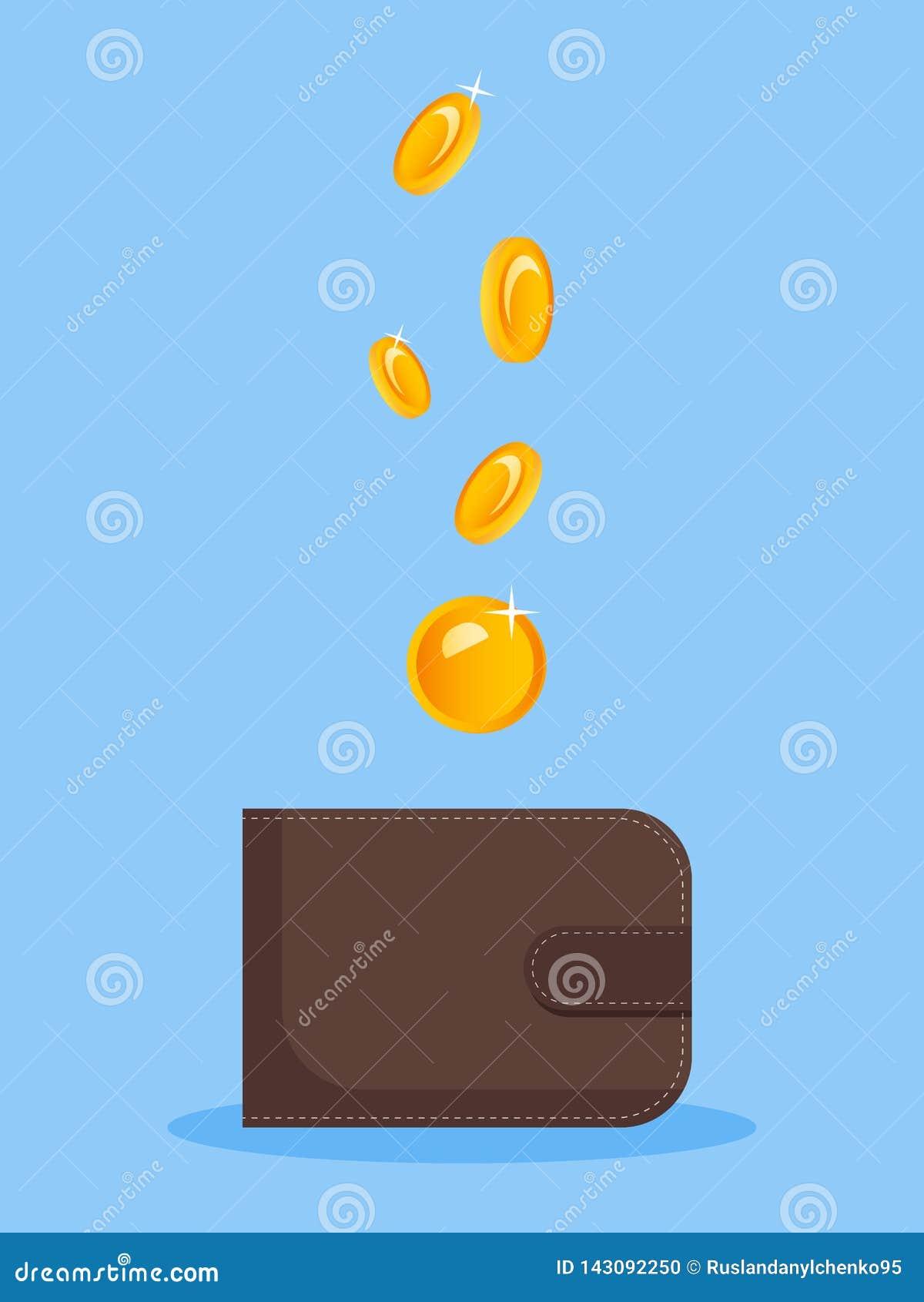 A imagem do dinheiro que cai em uma bolsa Imagem lisa do vetor em um fundo azul Financiamento, monat, ideia para anunciar