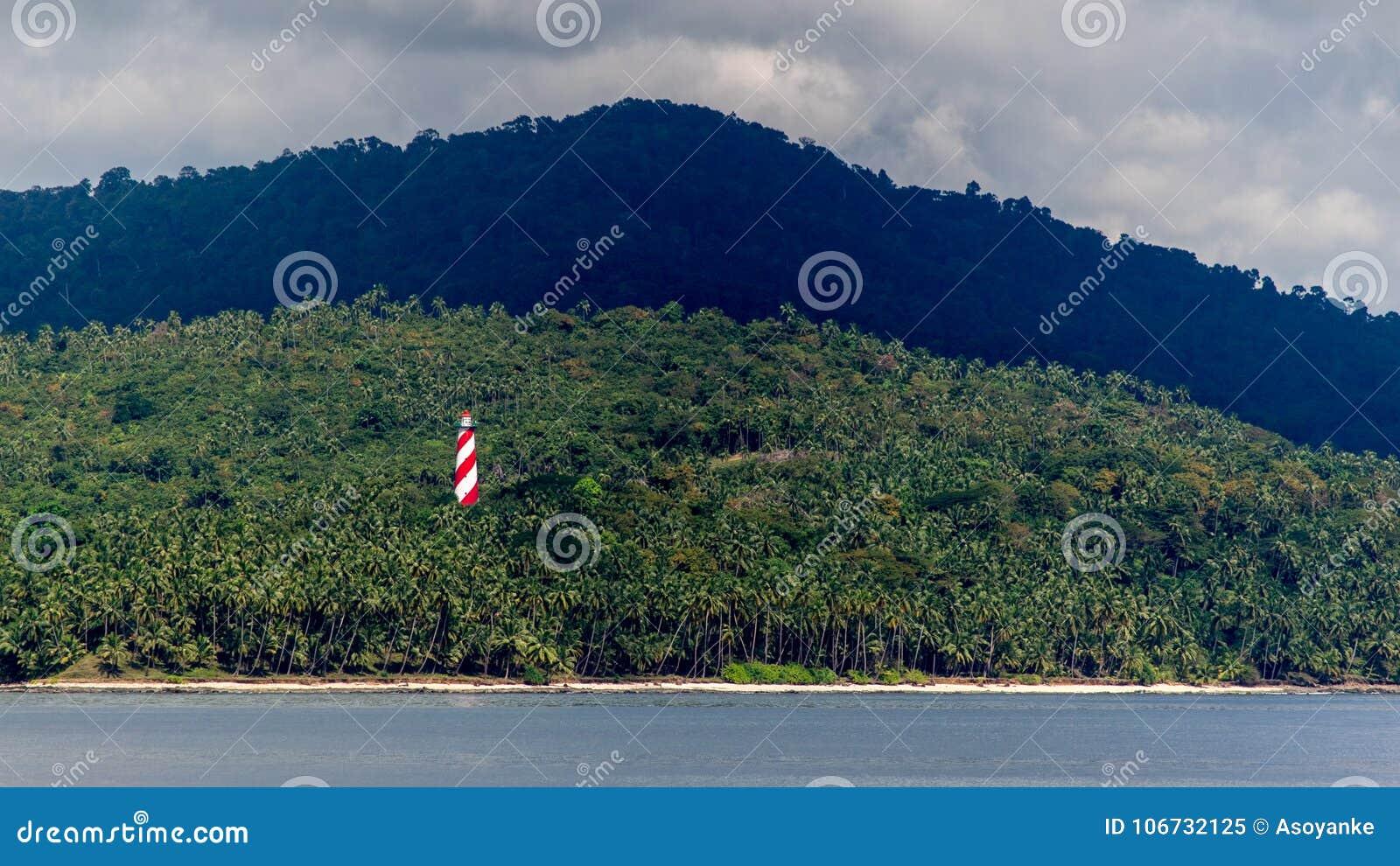 Imagem do farol na ilha norte Andaman da baía, tiro da cadeia celular, Port Blair