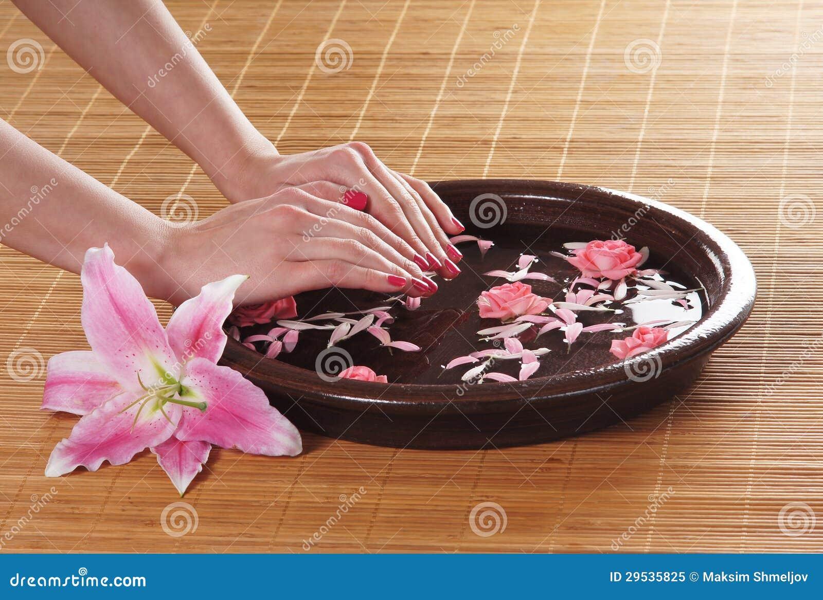 Imagem do Fim-acima das mãos e de rosas fêmeas