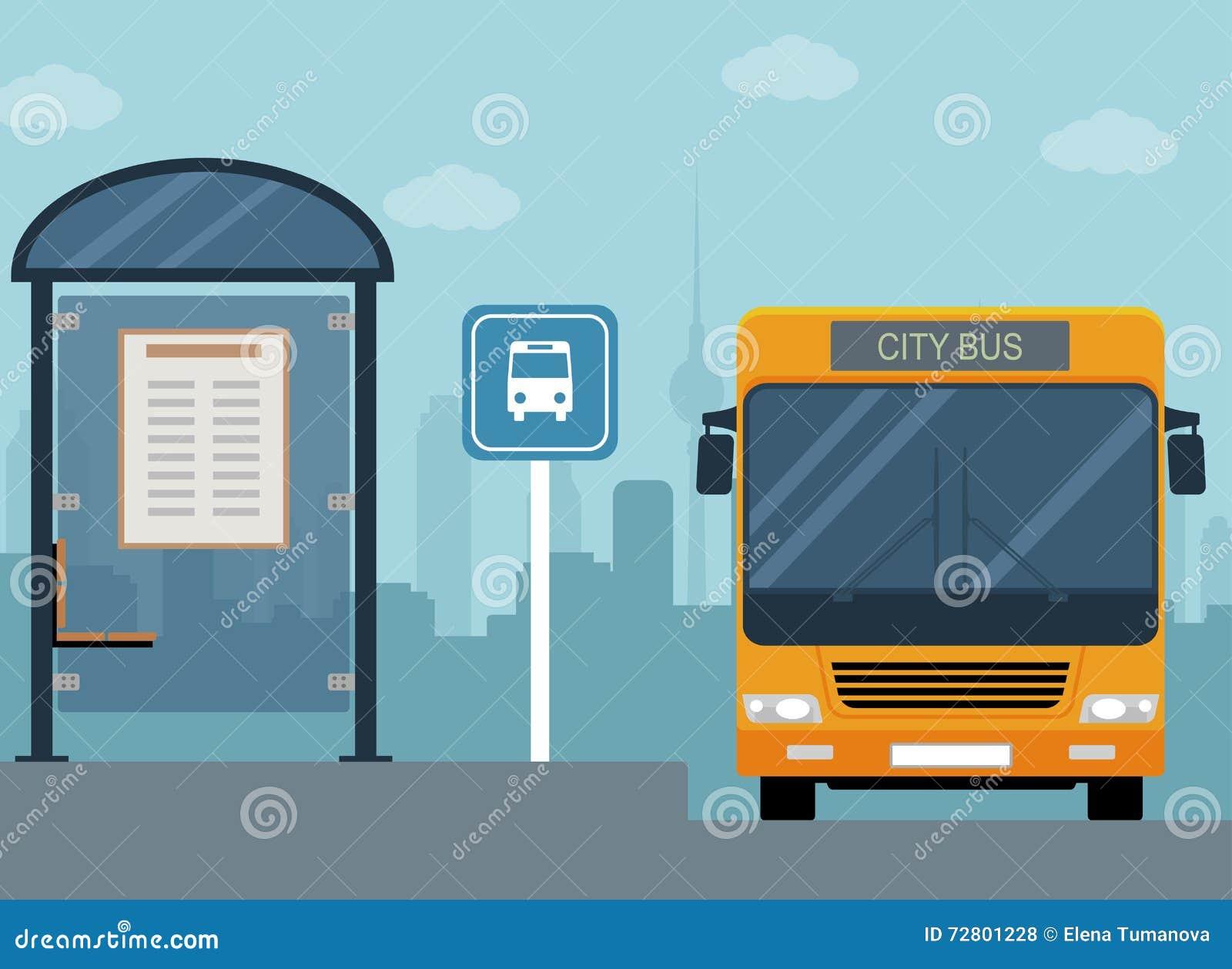 Imagem do ônibus na parada do ônibus
