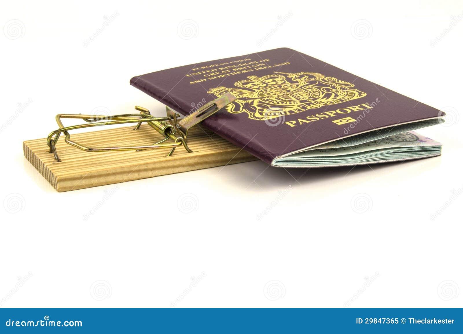 Armadilha do rato com o passaporte prendido