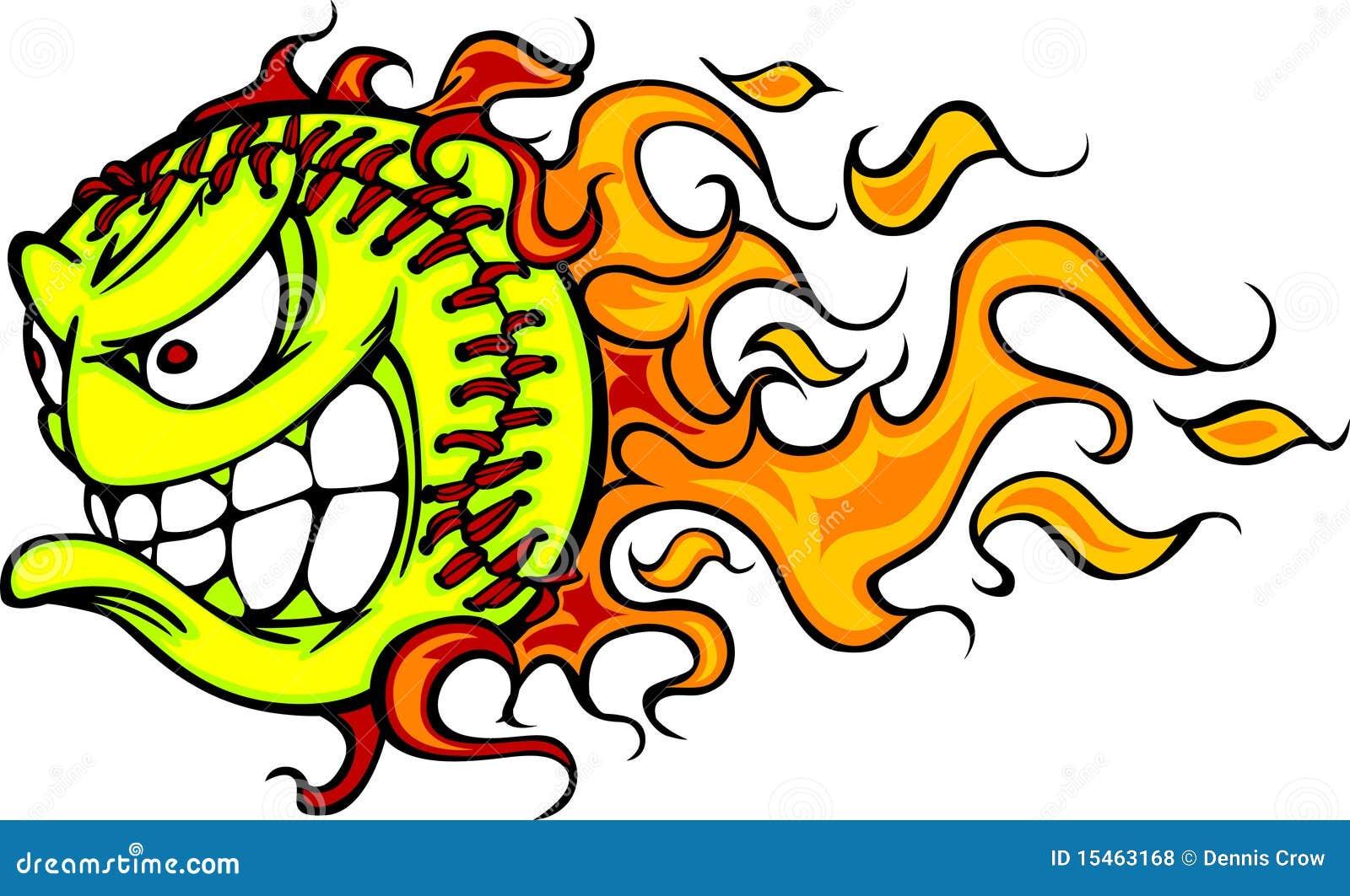 Imagem do vetor da face da esfera do ardor Fastpitch