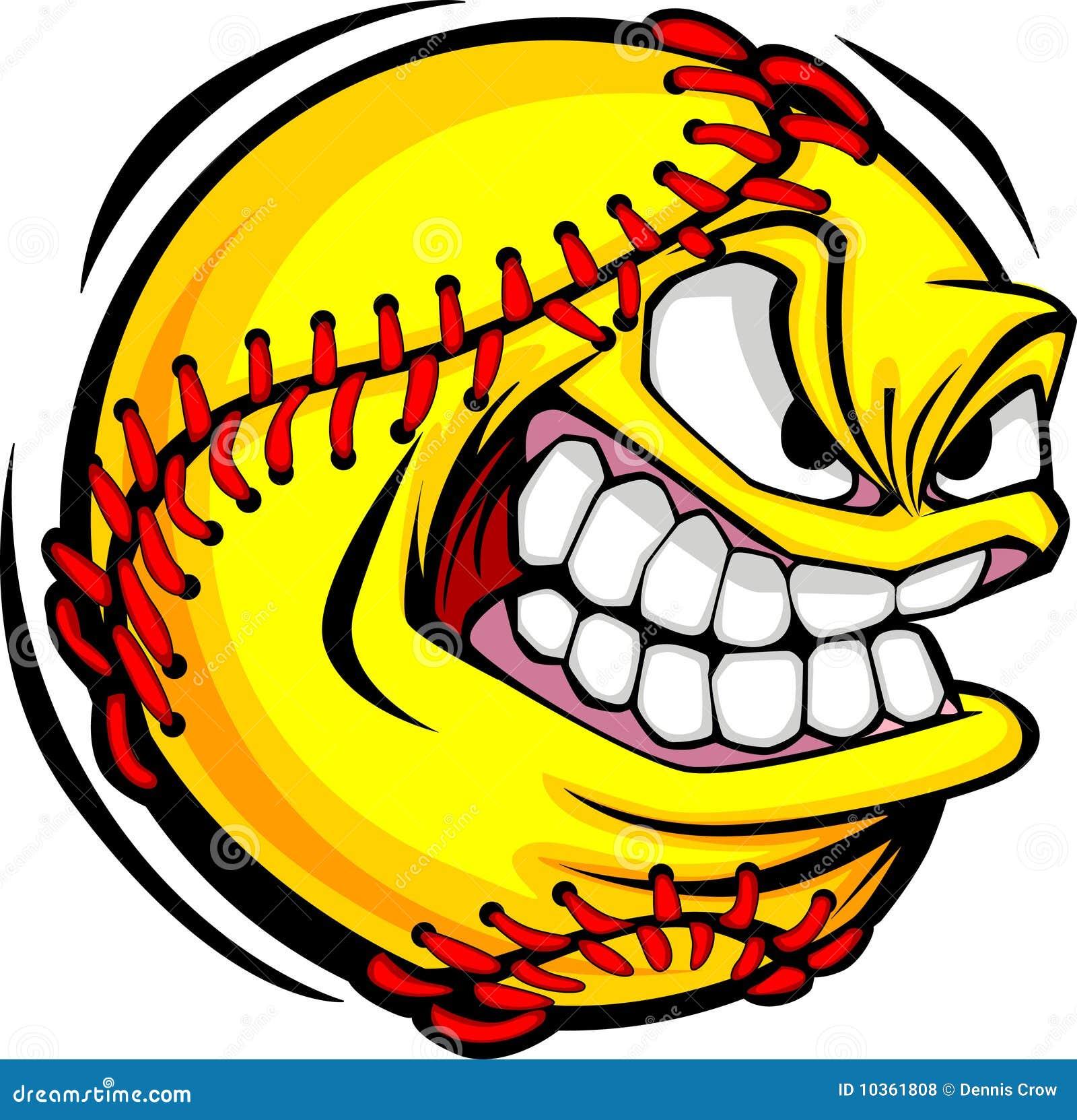 Imagem do vetor da face da esfera do softball