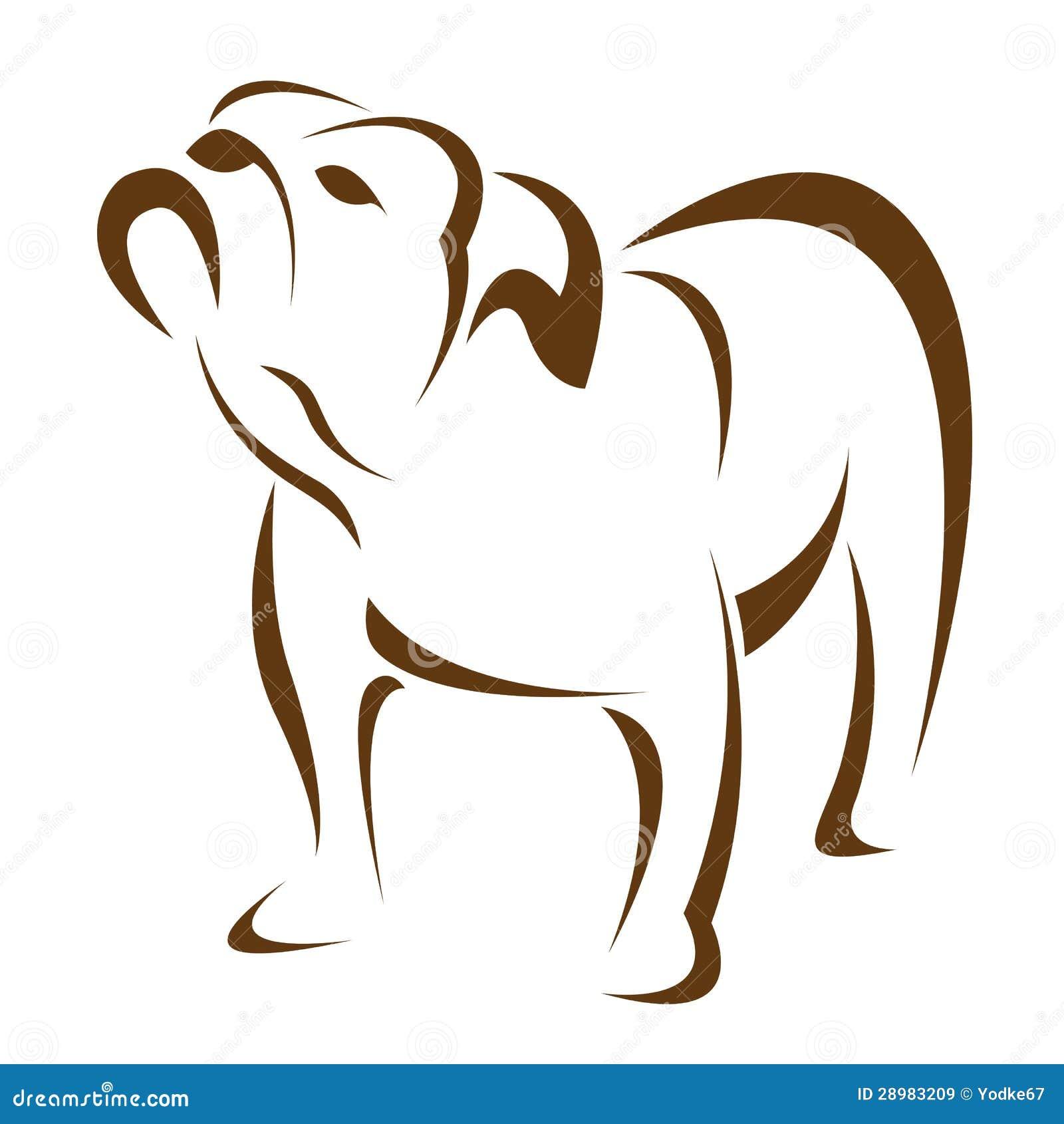 Imagem do vetor de um cão (buldogue)