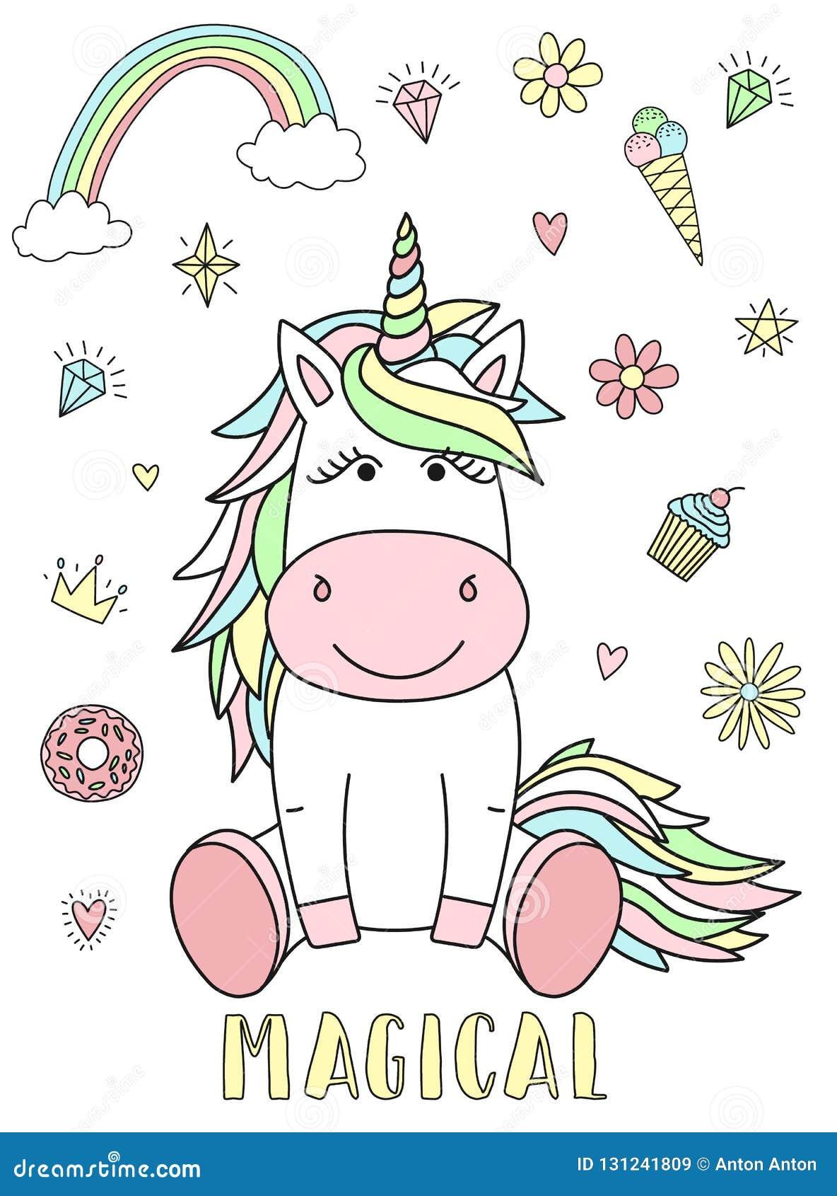 Imagem do vetor de um unicórnio bonito com corações, flores, arco-íris, diamantes e a inscrição mágica Conceito do feriado, showe